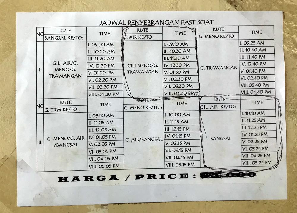Indonésie Bali Gili Lombok horaires bateau