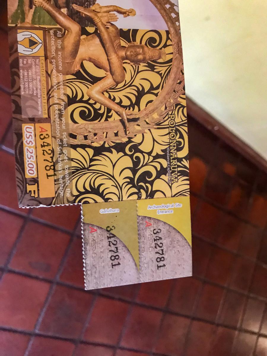 Sri Lanka Polonnaruwa Ticket